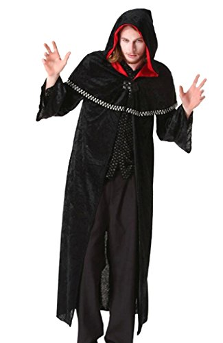 Men's Halloween Costume Vampire Knight Medieval Black Hooded -