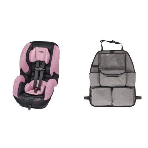 DLX Convertible Car Seat - Nicole with Deluxe Car Backseat Organizer, Grey Melange ()