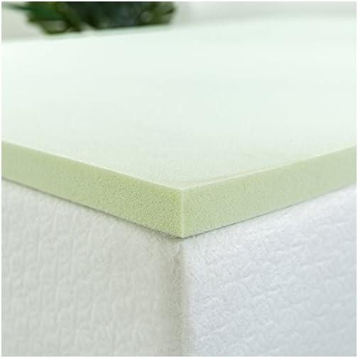 Zinus 1.5 Inch Green Tea Memory Foam Mattress Topper / Green Tea & Charcoal Infused for Freshness / CertiPUR-US…