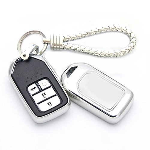 Ind Pilot - Thor-Ind TPU Key Fob Skin Case Cover Key Chain For Honda Accord Civic CR-V CR-Z HR-V Pilot Fit Odyssey Ridgeline Elysion Spirior 2 3 4 5 Buttons Smart Key Protective Shell (TPU, Silver)