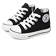 GZYIBU Kids Boys Girls Canvas High Top Gym Shoes Trainers Sneakers(Toddler/ Little Kid/ Big Kid), Black, 2 M US Little Kid