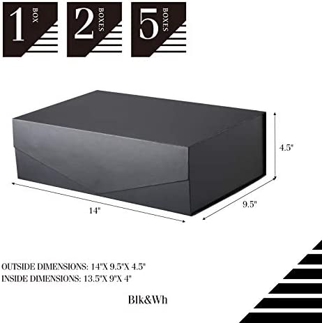 BLK&WH 2 Gift Boxes 14x9.5x4.5 Inches, Large Gift Boxes with Lids, Groomsman Boxes, Black present Boxes, Collapsible Gift Boxes with Magnetic Lids (Matte Black)