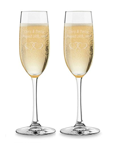 2PK Personalized Wedding Champagne Flutes Custom Engraved Toasting Glasses -