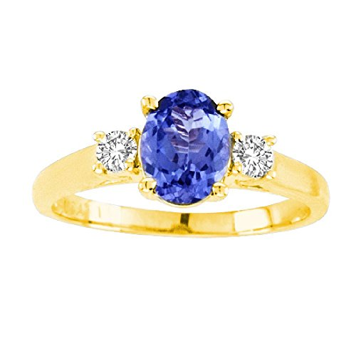 - 14kt Yellow Gold Diamond and Tanzanite Ring 0.70ctTW