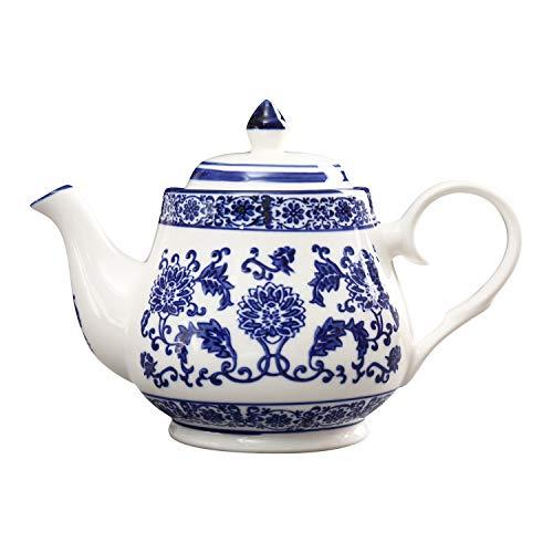 ufengke 22oz Tetera de Porcelana Azul y Blanca,Tetera de Ceramica para el Te de Kungfu,Cafetera De Ceramica Azul Flores
