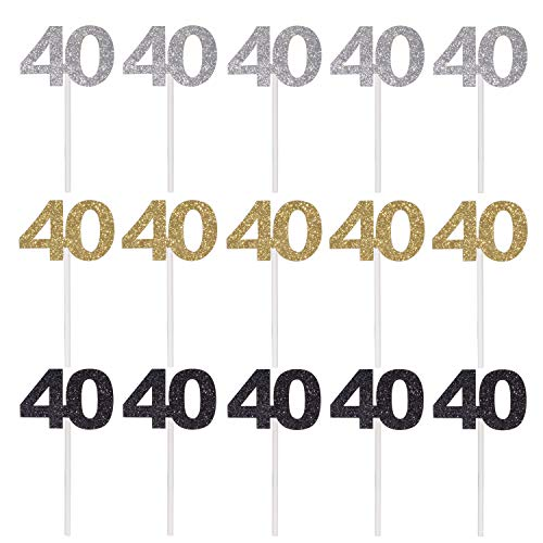 Qibote 36 Pieces Glitter Number 40 Cupcake Toppers for 40th Birthday Cupcake Decoration 40 Birthday Party Supplies (40 Birthday Cup Cake Toppers)