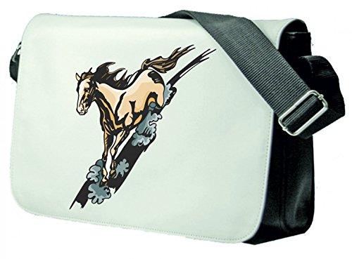 Schultertasche Pferd galoppiert stolz Pferd Pferdesport reiten Hobby Tiere Schultasche, Schulanfang Schwarz