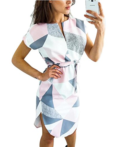 PORALA Womens Summer Dresses V-Neck Casual Work Geometric Pattern Midi Floral Print Belted Pencil Dress(XS-XXXL)