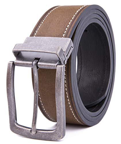 Belts for Men, Classic Stitched Large Width Strap, Regular Tall & Big sizes - Mens Jeans Belt - Handmade (36/38, 2068 D BR)