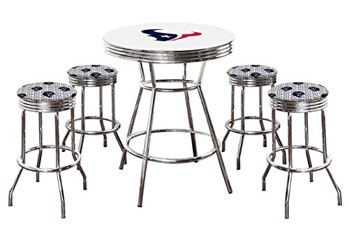 "- 5 Piece White Pub/Bar Table Set with 4 – 29"" Swivel Stools Featuring Your Favorite Football Team Logo Fabric Covered Seat Cushions! (Texans)"