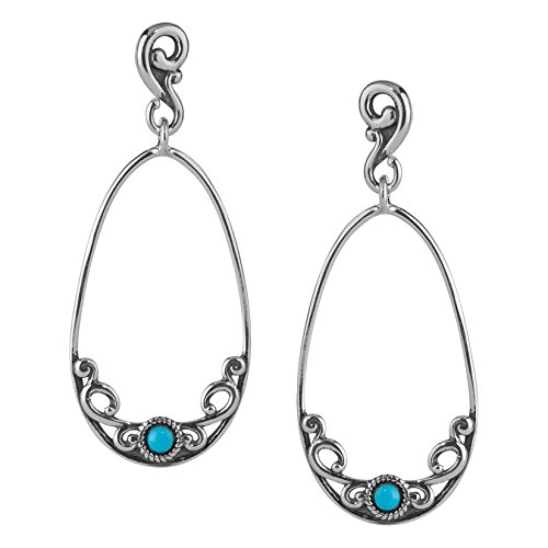 Carolyn Pollack Sterling Silver Sleeping Beauty Turquoise Loop Earrings
