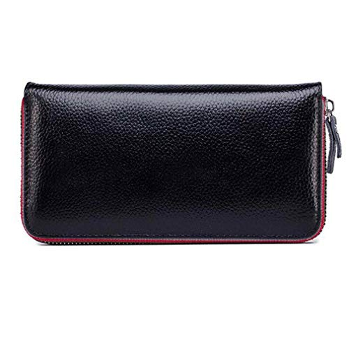 - Elegant Women Genuine Leather Wallet Bag Case Clutch Coin Card Zipper Purse Gift (Color - Black)