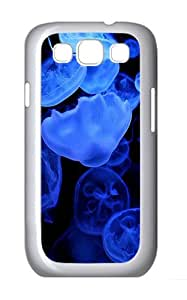 Samsung Galaxy S3 Case and Cover- Jellyfish Blue Glow Custom PC Case for Samsung Galaxy S3 / SIII / I9300 White