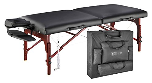"Master Massage 31"" Montclair Therma-Top Portable massage Table with MEMORY FOAM Package,Black"