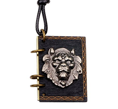 Ghostbusters Costume Diy (Winter's Secret Alloy Lion Head Pattern Book Pendant Can Put Photo Necklace Lover Adjusted Leather Rope)