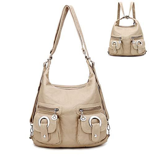 Hobo Bags for Women Washed Leather Shouler Bag Tote Bag Multipocket Backpack Purse for Girls,Beige
