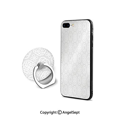 iPhone 7/8 Case with 360°Degree Swivel Ring,Tribal s Eternity Forms Pattern Boho Decor Ireland Irish Cross Floral Artprint,Ultra Thin Slim Cover Case,Grey White