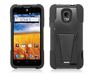 Black Dual Layer Shockproof Armor Kickstand Case Cover + Atom LED Keychain Light for ZTE Unico LTE Z930L