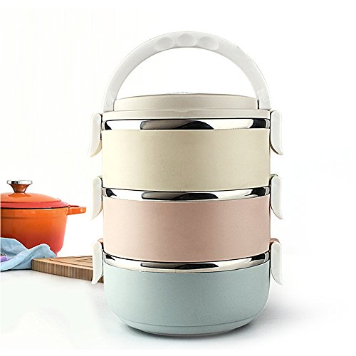 Ieasycan 3 Layer Stainless Steel Thermos Bento Lunch Box ...