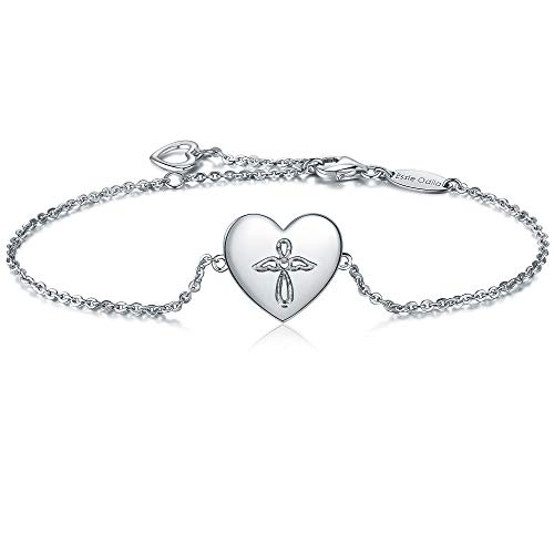 Essie Odila 18K White Gold Plated Sterling Silver Heart Adjustable Bracelet for Womens Sisters Friends Mother (White Gold, Angel)