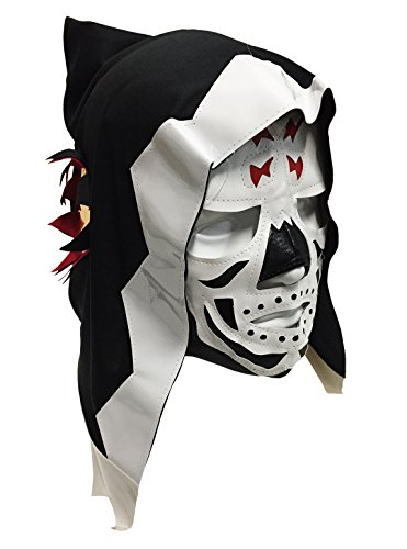 Halloween Luchador Costume (LA PARKA Adult Lucha Libre Wrestling Mask (pro-fit) Costume Wear - WHITE)