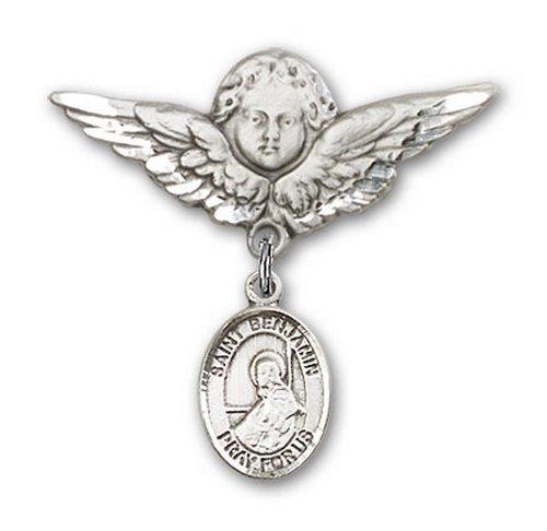 Icecarats Créatrice De Bijoux En Argent Sterling St. Benjamin Charme Ange Broche De Badge 1 1/8 X 1 1/8