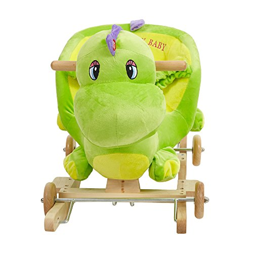 Livebest Baby Plush Rocking Horse Wooden Chair Rockers with Wheels,Seat Belt Kid Rocking Horse Chair/Outdoor Rocking Horse/Rocker/Animal Ride/Rocking Toy by Livebest