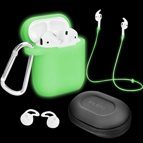 Airpods Case Glow in The Dark, Filoto Airpods Waterproof Silicone Case Cover with Keychain/Strap/Earhooks/Accessories Storage Travel Box for Apple Airpod (Night Glow)