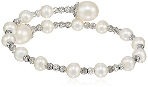 Bella Pearl Sterling Silver Wrap-Bangle - Pearl Com Bracelets Diamond