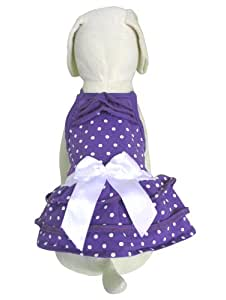 UP Collection Purple Dog Dress with Polka Dots and Bow Detail, XX-Small
