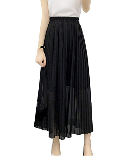 Negro Moderno Casuales Multicapa Verano Sólido Elegantes Cintura De Color Primavera Pants Mujer Largos Estilo Falda Mujeres Outdoor Moda Pantalones Cómodo Alta Chiffon Anchos Aqx1SB