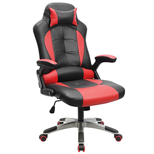 41FG47ez 4L - Furmax-Pu-Leather-Gaming-Chair-Executive-Racing-Style-Gaming-Chair-Bucket-Seat-PU-Leather-Office-Chair-Computer-Swivel-Lumbar-Support-Chair-Red