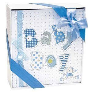 - White and Blue Baby Boy Photo Album-4x6 Photos