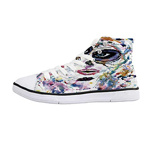 Sugar Skull Decor Comfortable High Top Canvas Shoes,Halloween Girl with Sugar Skull Makeup Watercolor Painting Style Creepy Decorative for Women Girls,US 7.5]()