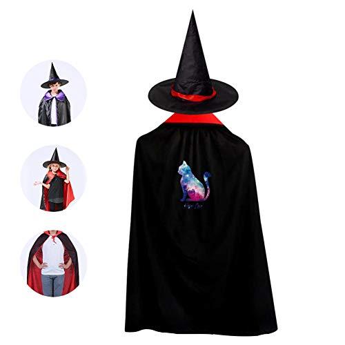 SeVam Color Galaxy Cat Kids Cloak Suit Hallowmas