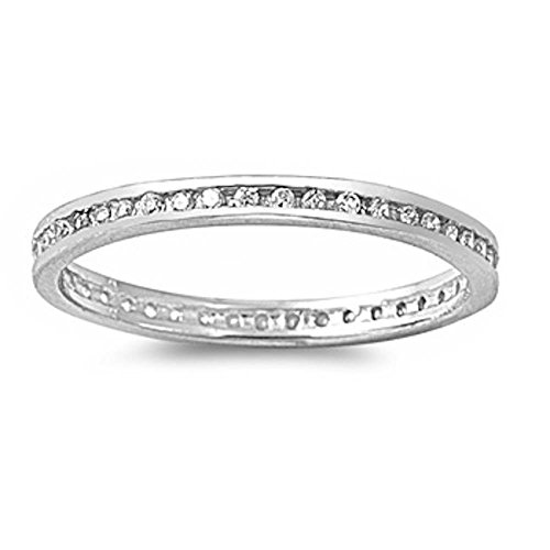 Round Cz Eternity Channel Set Wedding Band .925 Sterling Silver Ring Size 7 ()
