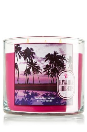Bath & Body Works Hawaiian Hibiscus Scented 3 Wick Candle 14.5 oz (Hawaiian Hibiscus Candle Bath And Body Works)