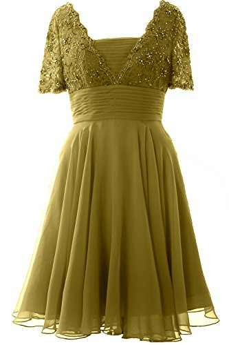 MACloth Women Short Sleeve Mother of the Bride Dress Lace Cocktail Formal Gown Verde Oliva