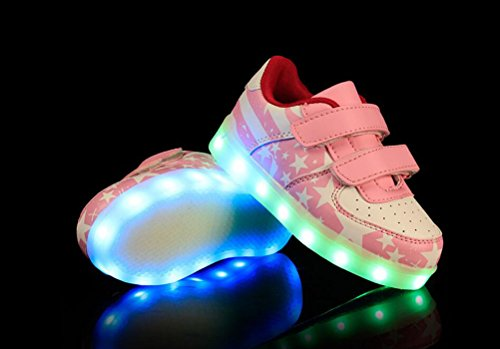 Boys Charging Sneakers Pink Usb Ake Skidproof Girls Light Shoes Led Flashing Zapatos Luminous Sport pxSSqY5Fw