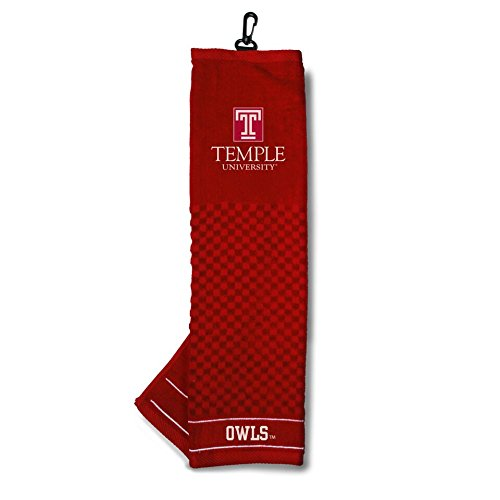 Temple Club Owl - Team Golf NCAA Temple Owls Embroidered Golf Towel, Checkered Scrubber Design, Embroidered Logo