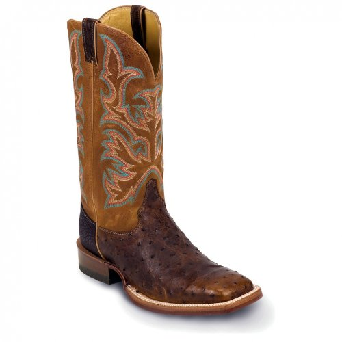 Justin Boots 8577 Men's 13-in Full Quill Ostrich Boot Brandy 10.5 B US