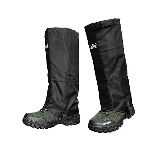 Waterproof and Breathable Leg Gaiters, 1 Pair High Gaiters for Skiing Hiking Hunting Climbing, Two Pieces of Snow Boot Gaiters with TPU Strap for Both Women and Men (Black)