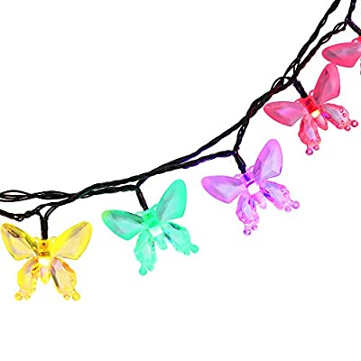 Qedertek Outdoor/Indoor Waterproof Solar String Lights, 24.6ft 40 LED Butterfly Christmas Lights Decorative Lighting for Home, Fence, Garden, Patio, Lawn, Party