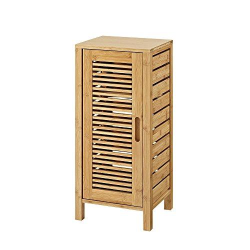 Linon AMZN0321 Finn Bamboo Bathroom One Door Cabinet, Brown