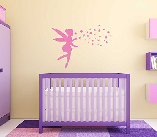 Fairy Wall Decal with Pixie Dust - Vinyl Sticker for Girls Room - Available in Pink, Purple, Other Colors - Home Decor for Nursery, Children,