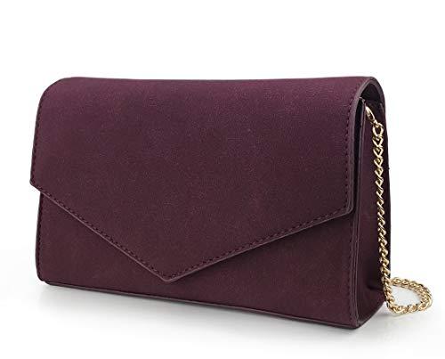 Burgundy Clutch - Minimalist Evening Envelope Clutch Chain Shoulder Bag Women Faux Leather Suede Purse (Burgundy)