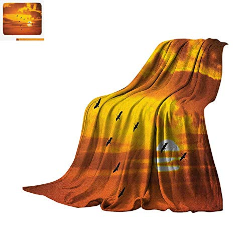 "Birds Warm Microfiber All Season Blanket V Shaped Formation Flying in Cloudy Scenic Sky with Majestic Sunset Cloudscape Print Summer Quilt Comforter 60""x36"" Orange"