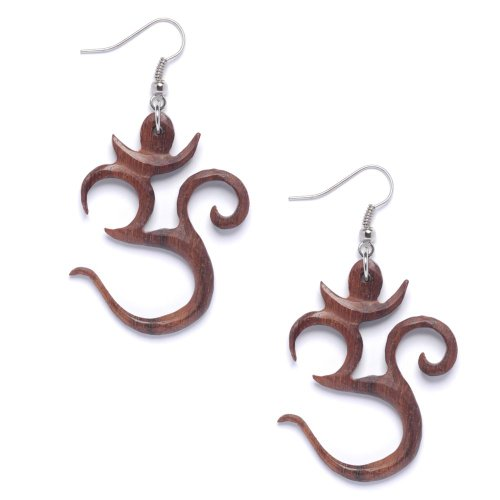Wood And Sterling Silver Jewelry Box (81stgeneration Women's Wood .925 Sterling Silver Om Aum Indian Brown Dangle Earrings)