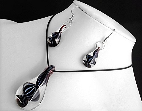 Ecloud Shop Black drops-shaped Lampwork Glass Murano Pendant Necklace Earrings