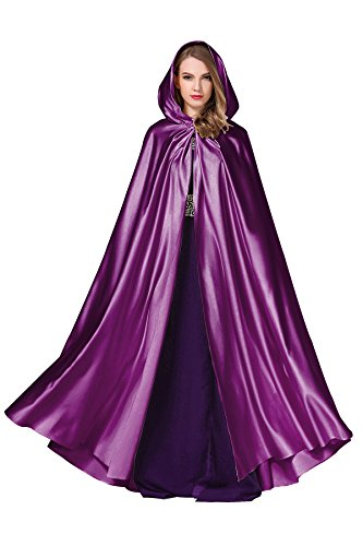 Women's Wedding Hooded Cape Bridal Cloak Poncho Full Length Purple